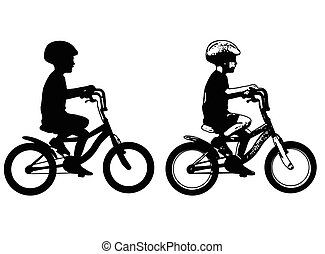 little boy riding bicycle silhouette and sketch illustration