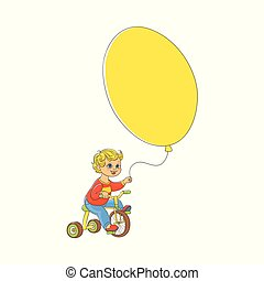 Funny little boy in yellow baseball cap riding bicycle. kid cycling ... aaba7a46b7f1