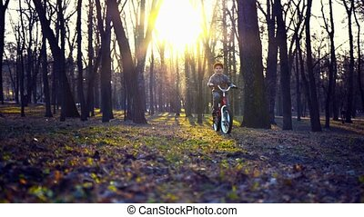 Little boy riding the bicycle in the park, sundown park