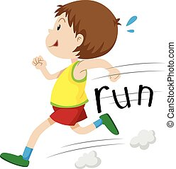 Little boy running alone illustration