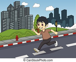 Little boy running at the street