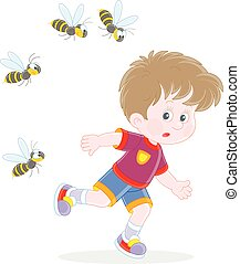 Little boy running away from angry wasps