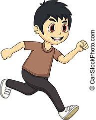Little boy running cartoon