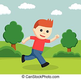 little boy running in a park