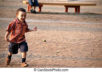 Little boy running - LIttle boy running outdoors