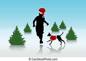 little boy running with a dog on christmas background