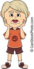 Little boy sad cartoon