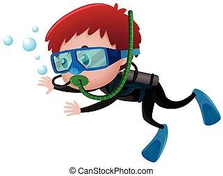 Little boy scuba diving underwater illustration