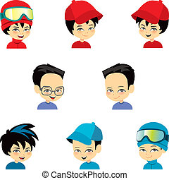 Illustration of a lttle boy with different hats.