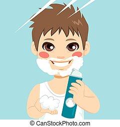 Little Boy Shaving Cream Beard - Cute little boy playing...