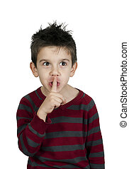 Little boy showing silence