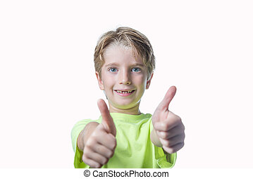 Little boy showing two thumbs up on white background