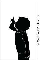 little boy shows something in the sky silhouette vector