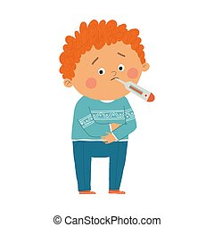 Little boy sick with high fever. Cartoon vector hand drawn eps 10 illustration isolated on white background in a flat style.