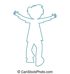 little boy silhouette, vector art illustration