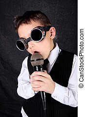 little boy singer with mic