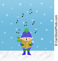 Little Boy Singing in the Snow - Small boy singing from a...