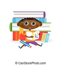 Little Boy Sitting At Stack Of Books Reading Cute Kid
