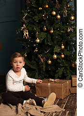 Little boy sitting near Christmas tree with gifts