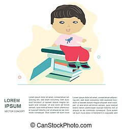 Little boy sitting on a pile of books. Space for text