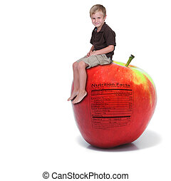 Little Boy Sitting on an Apple with Nutrition Label -...