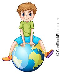 Little boy sitting on blue planet