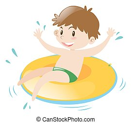 Little boy sitting on floating ring