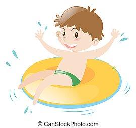 Little boy sitting on floating ring