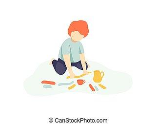 Little Boy Sitting on Floor and Making Figures from Plasticine, Kids Creativity, Education, Development Vector Illustration