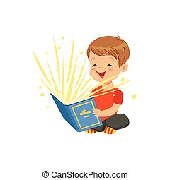 Little boy sitting on the floor with magic book radiating...