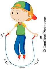Little boy skipping the rope