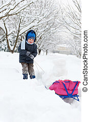 Little boy sledding in snow forest