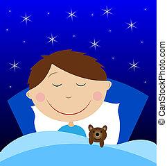 little boy sleep under blanket