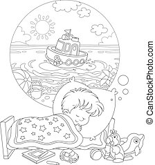 Small child has a dream of a beautiful toy ship in blue water of a sea beach on a sunny summer day, black and white vector cartoon illustration for a coloring book page