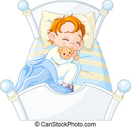 Little boy sleeping - Cute little boy sleeping in his bed