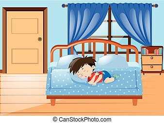 Little boy sleeping in bedroom