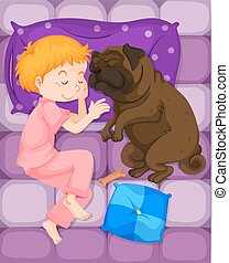 Little boy sleeping with pet dog in bed