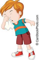 Little boy sneezing hard - illustration of Little boy...