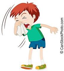 Little boy sneezing hard illustration