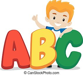 Little Boy Standing behind ABC - Vector Illustration of...