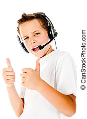 little boy with headset isolated on a white background