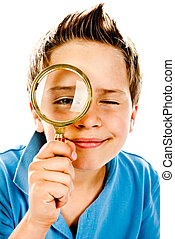 little boy with magnifier on a white background