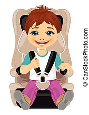 little boy strapped to a car seat isolated on white...