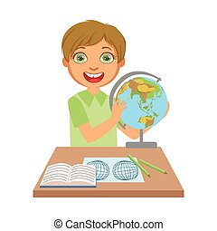 Little boy studying geography with globe on study table, a colorful character