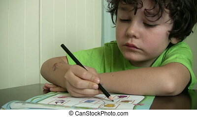 Little Boy Studying