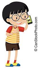 Little boy talking on cell phone
