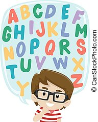 Little Boy thinking of Alphabet Set