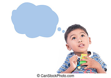 little boy thinking on white background