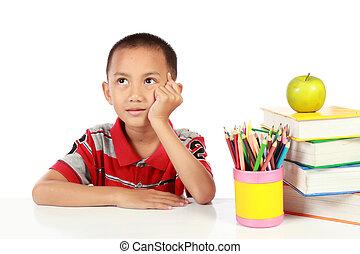 little boy thinking