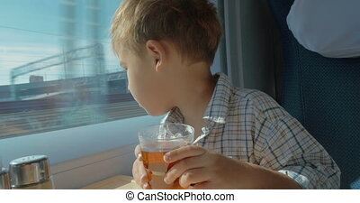 Little Boy Traveling by Train